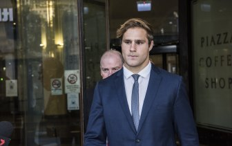 Jack de Belin leaves court after he was found not guilty of one charge.