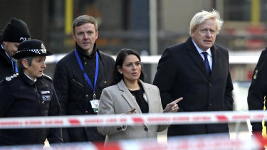 Boris Johnson visits the scene of the attack on Saturday.