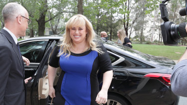 Rebel Wilson arrives at the High Court of Australia in Canberra on Friday.
