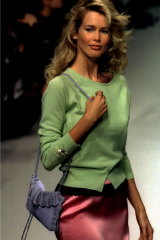 Claudia Schiffer in Karl Lagerfeld's spring-summer 1995 ready-to-wear collection for French fashion house Chloe.