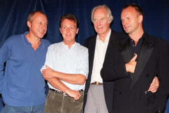 Mark Knopfler, Paul McCartney, George Martin and Sting at the fundraising concert for Montserrat in 1997.