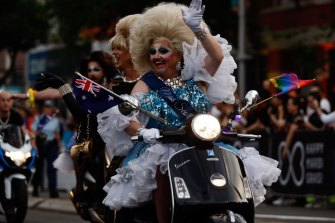 All smiles: One of the paraders from this year's Sydney Gay and Lesbian Mardi Gras.