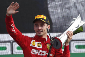 Ferrari's Charles Leclerc after winning the Italian Formula One Grand Prix at Monza on Sunday.