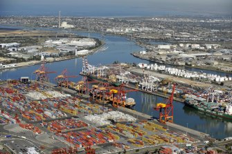 The Chinese ship arrived at the Port of Melbourne on Tuesday.
