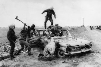 The Toecutter's gang attack in a scene from the 1979 film Mad Max, which was banned in New Zealand and Sweden.