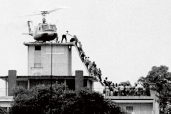 The US embassy evacuation of Saigon (today Ho Chi Minh City) in 1975, after North Vietnamese took over South Vietnam.