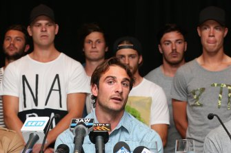 Jobe Watson and some of the members of the Essendon 34 at the heart of the scandal.