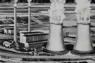 """An artist's impression of the Yallourn """"W"""" Power Station, which the State Electricity Commission of Victoria built in 1974."""