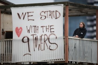 A message of support placed opposite the locked-down towers in North Melbourne on Tuesday.