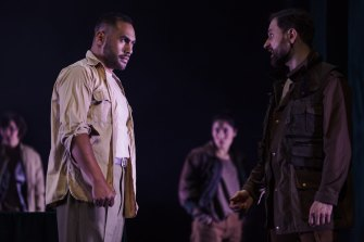 Ray Chong Nee (Othello) and  Yalin Ozucelik (Iago) in Bell Shakespeare's Othello.