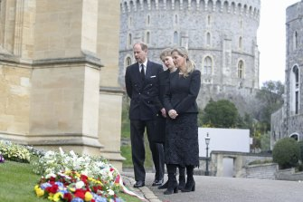 Prince Edward, Lady Louise Windsor and Sophie Countess of Wessex, before the funeral service of Prince Philip.