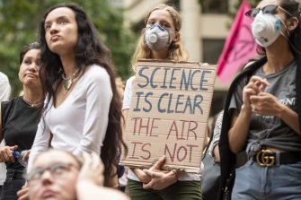 Protesters accused the government of ignoring the science of climate change.
