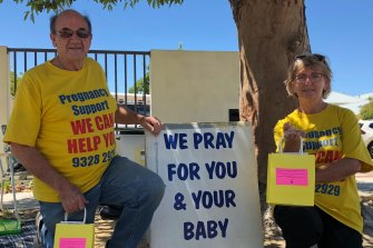Protestors outside the Marie Stopes abortion clinic in Midland last year.