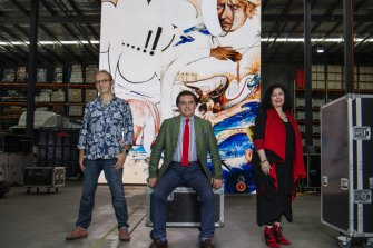 From left: Production designer Dan Potra, Opera Australia artistic director Lyndon Terracini and composer Elena Kats-Chermin, have put together an opera on the life and work of Brett Whiteley.
