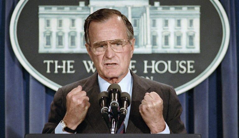 US President George H. W. Bush used a June 5, 1989 press conference to condemn the Chinese crackdown on pro-democracy demonstrators in Beijing's Tiananmen Square.