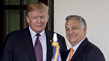 US President Donald Trump, left, and Hungarian Prime Minister Viktor Orban at the White House.
