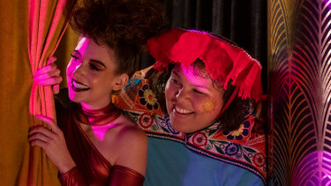 Alison Brie as Ruth and Britney Young as Carmen in Glow season 3.