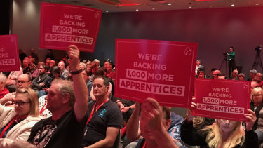 ALP state conference backs call to employ extra apprentices at state conference in Brisbane.