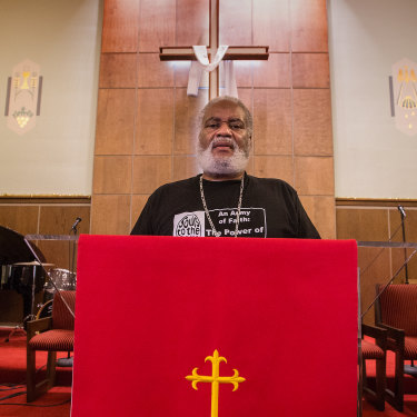Pastor Greg Lewis at Saint. Gabriel's Church, Milwaukee