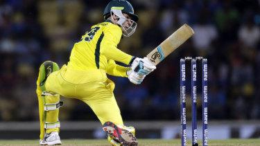 Peter Handscomb in action for Australia in India.
