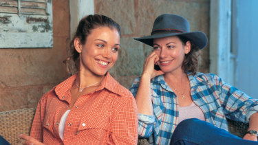 Bridie Carter and Lisa Chappell on the set of McLeod's Daughters.