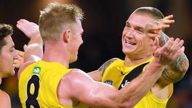 Dancing up a storm: Jack Riewoldt and Dustin Martin.