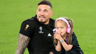 SBW had daughter Imaan by his side after he played his last game of rugby before joining the Toronto Wolfpack.