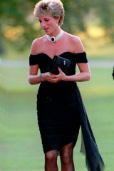 Princess of Wales in a Christina Stamboulian gown at a party given at the Serpentine Gallery in London, 1994.
