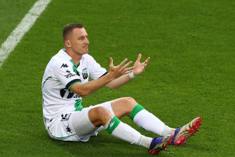 Besart Berisha reacts during the clash with Melbourne City.