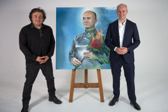 Artist Charles Mouyat with NSW Minister Matt Kean, who is the subject of his entry for the Archibald Prize.