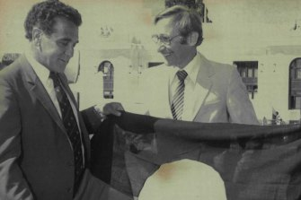 Indigenous leader Charles Perkins with then Aboriginal affairs minister Peter Baume.
