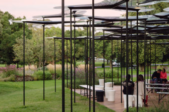 Rather than creating a new space, MPavilion this year will use its previous creations, including the 2015 MPavilion, designed by British architect Amanda Levete.