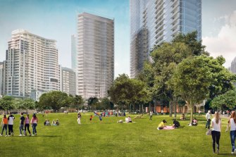 Hickson Park at Barangaroo will be one hectare of public parkland, similar in size to the renowned Bryant Park in front of the New York Public Library.