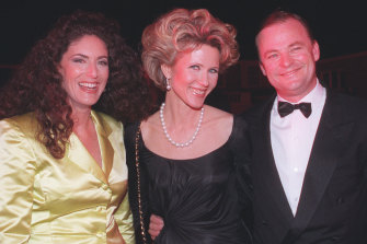 Jackie Frank, Fiona and Matt Handbury at the launch party of Marie Claire Australia in 1995.