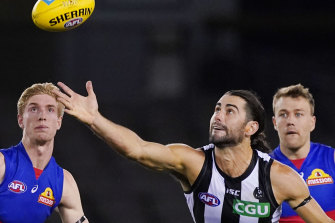 Man of the match Brodie Grundy was in great touch for the Magpies.