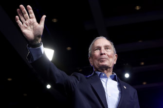 Michael Bloomberg waves to the crowd during a rally at West Palm Beach, Florida.