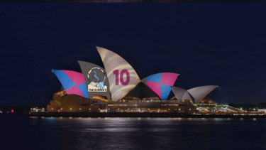 The Racing NSW advertisement will be beamed onto the Opera House from Tuesday.