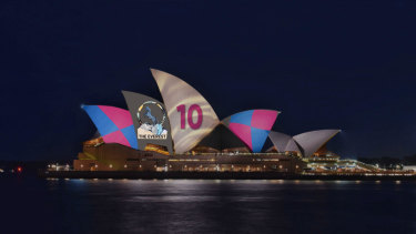 Approved: The Racing NSW promotion that will be beamed onto the Opera House from Tuesday.