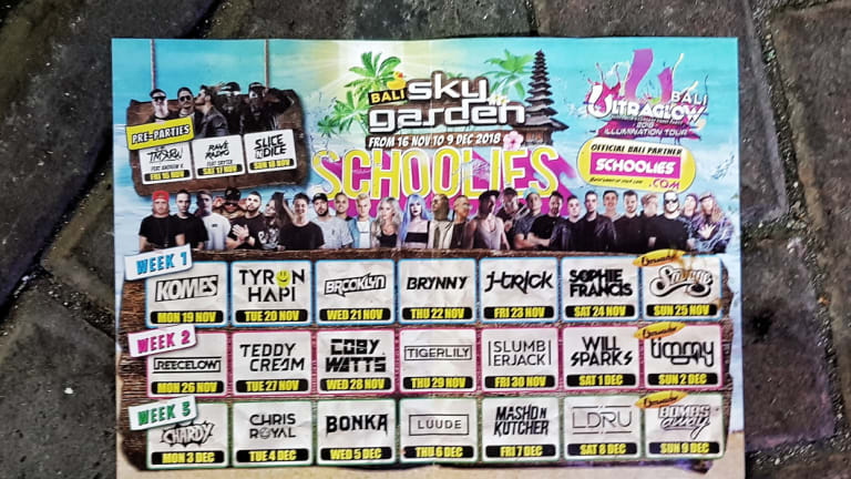 A Sky Garden flier advertises the acts for three schoolies weeks.