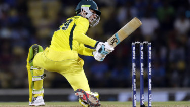 Peter Handscomb in action for Australia in India.