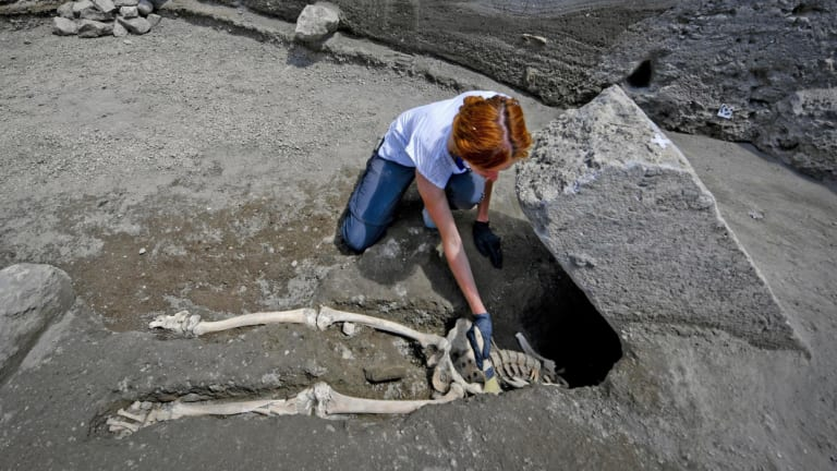 Anthropologist Valeria Amoretti works with a brush on a skeleton of a victim of the eruption of Mount Vesuvius in AD79, which destroyed the ancient town of Pompeii, near Naples.