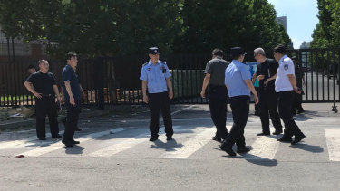 Police are checking the ground where an explosion took place near the US embassy.