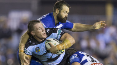 For and against: Canterbury prop Aaron Woods could be joining Paul Gallen at the Sharks.
