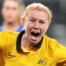 Clare Polkinghorne opens the scoring against Brazil.