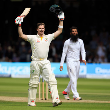Steve Smith celebrates his double-ton at the home of cricket.