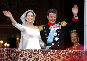 It all began at the Slip Inn during the Sydney Olympics: Danish Crown Prince Frederik and his wife Mary Donaldson smile and wave on their 2003 wedding day.