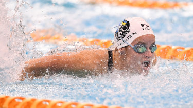 Kaylee McKeown in the butterfly leg of the 200 IM.