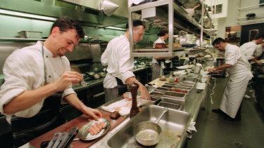 The kitchen at Banc restaurant in 1999.
