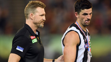 Nathan Buckley and Scott Pendlebury on Thursday.