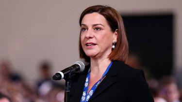 Queensland Opposition Leader Deb Frecklington speaks during the LNP annual convention